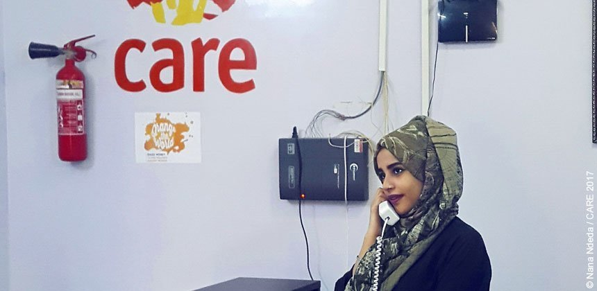 Anhar Mohammed Saeed works in CARE's Aden office, supporting our response to the current humanitarian crisis in Yemen