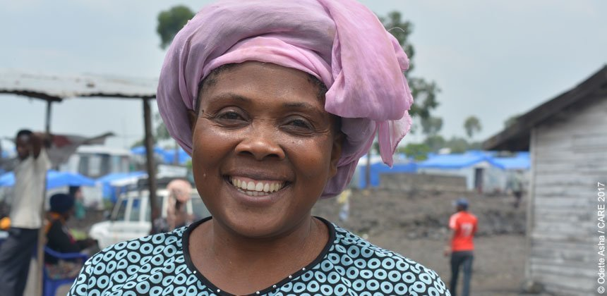 Amunazo Charly is an internally displaced woman who is working as community mobiliser in North Kivu, Democratic Republic of Congo