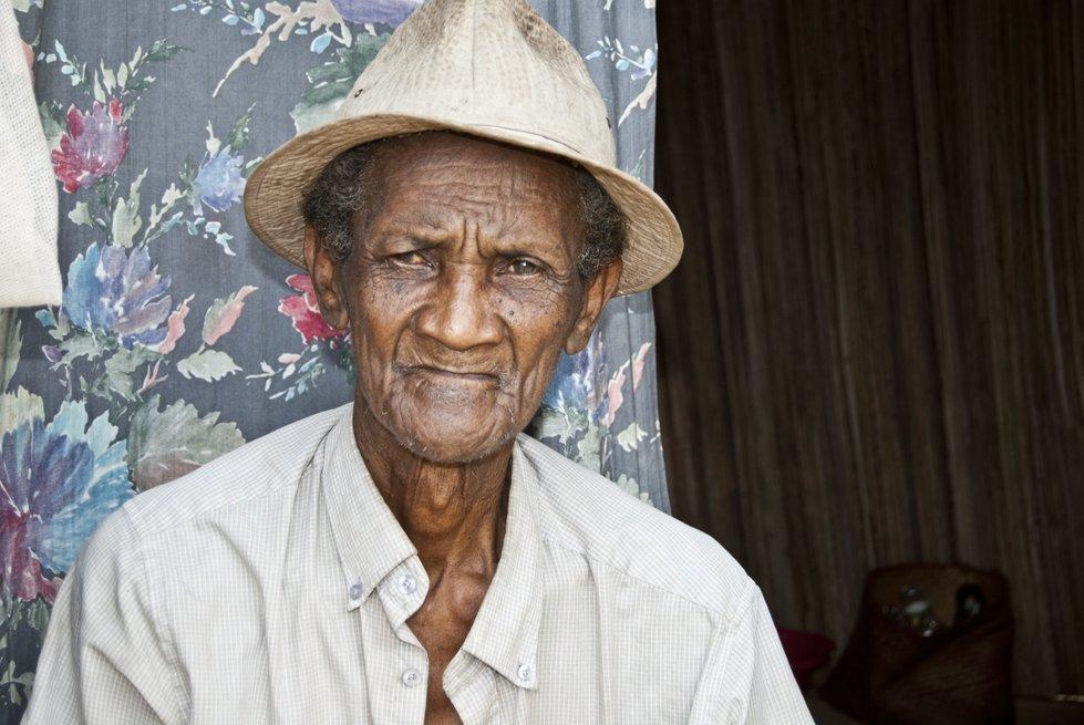 An elderly person living alone. Antalaha, Madagascar