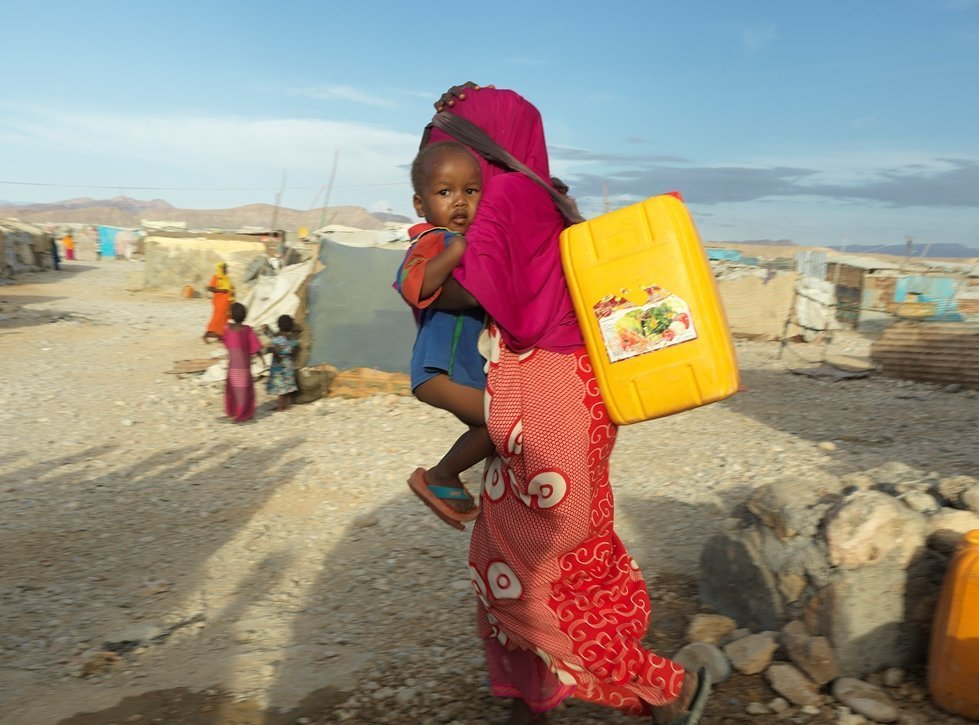 In the Somalian drought women and girls are walking for hours searching for clean water.