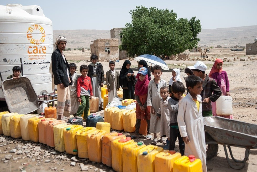 CARE water distribution in Yemen.