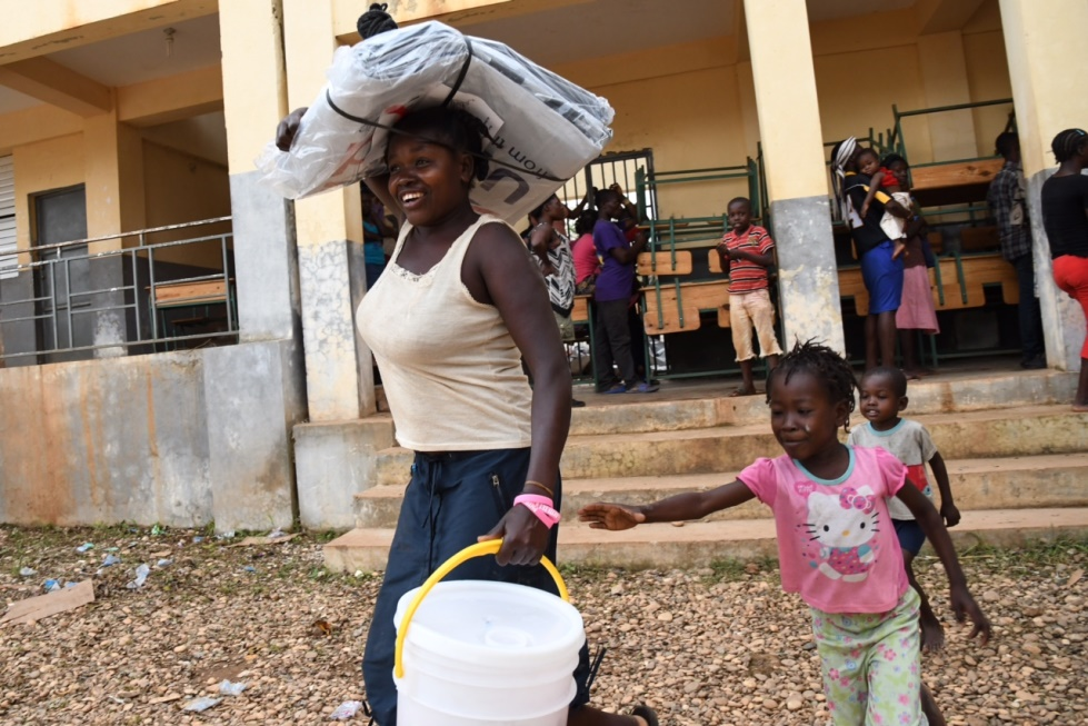 Days following Hurricane Matthew, CARE distributes 200 hygiene kits and 400 tarps for temporary shelter in Beaumont, Haiti on October 10, 2016. It is one of the most affected areas. Photo Carey Wagner/CARE