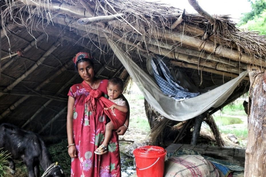 Ishwori Rana is living with her children in a temporary shelter following massive flooding in Nepal and throughout South Asia