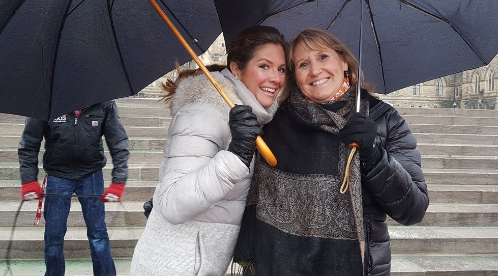 Gillian Barth, President and CEO of CARE Canada, with Sophie Grégoire Trudeau at Ottawa's Walk In Her Shoes event in March 2017