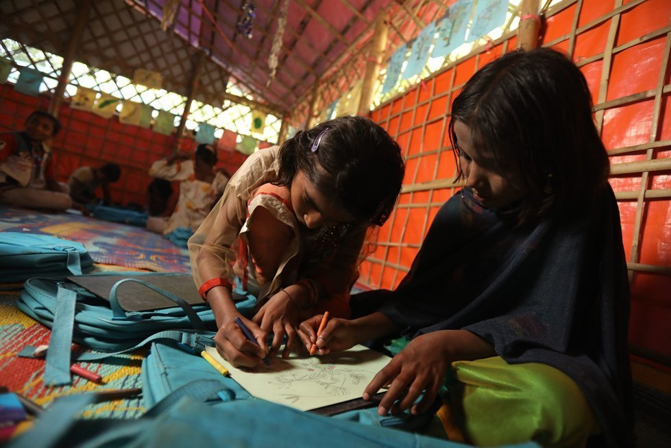Somira at the school she attends in a makeshift refugee camp in Bangladesh