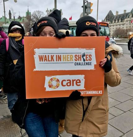 Participants in CARE's 'Walk In Her Shoes' event in Ottawa, March 6th, 2018. Photo: Andrea Crosley