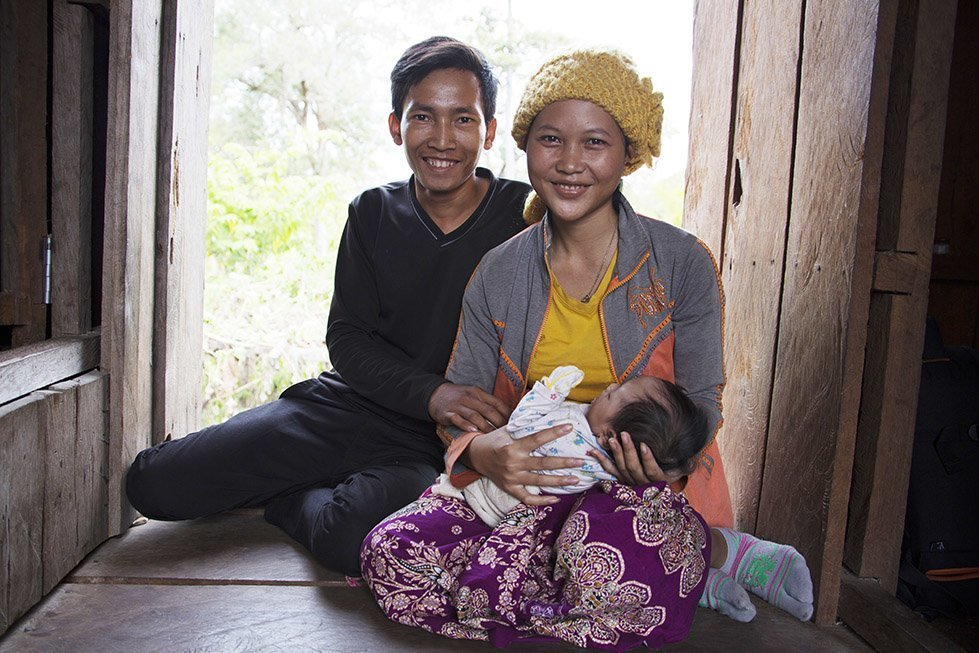 Sina and her husband with baby Davit. Photo: Sok Vichheka/CARE