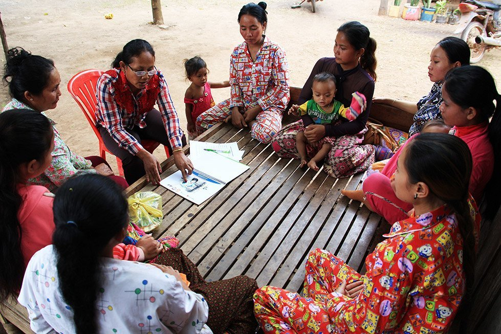 CARE has been working with the traditional birth attendants and health volunteers in Sina's village so they can give pregnant women accurate information about staying healthy. Photo: Sok Vichheka/CARE