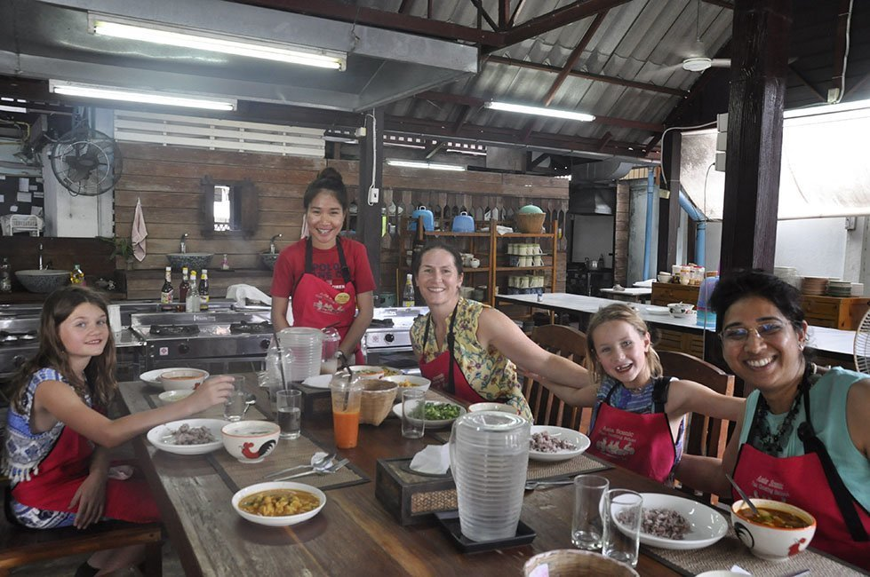 Me and my girls trying new food with new friends in Bangkok