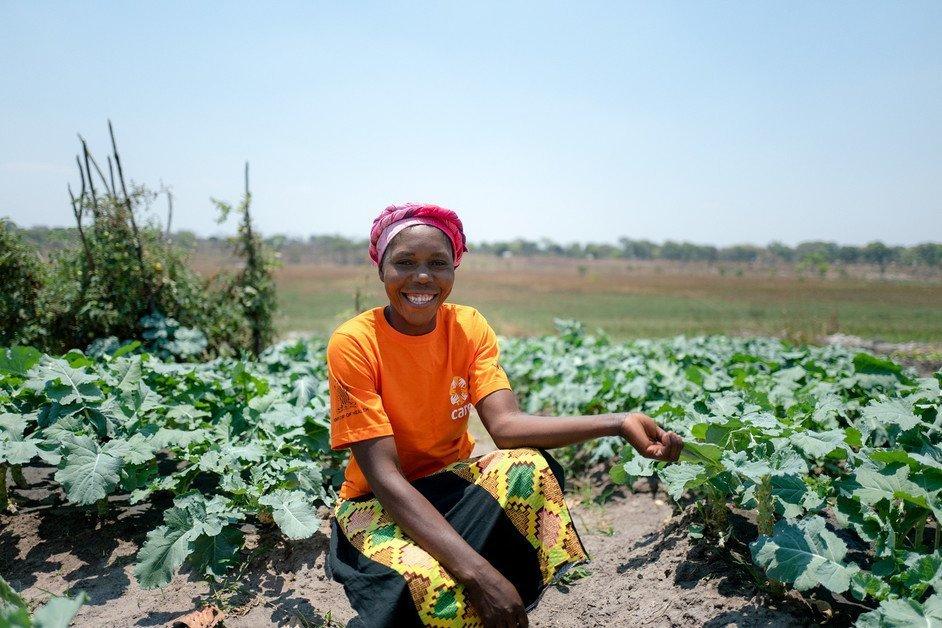 Woman in field in Zambia
