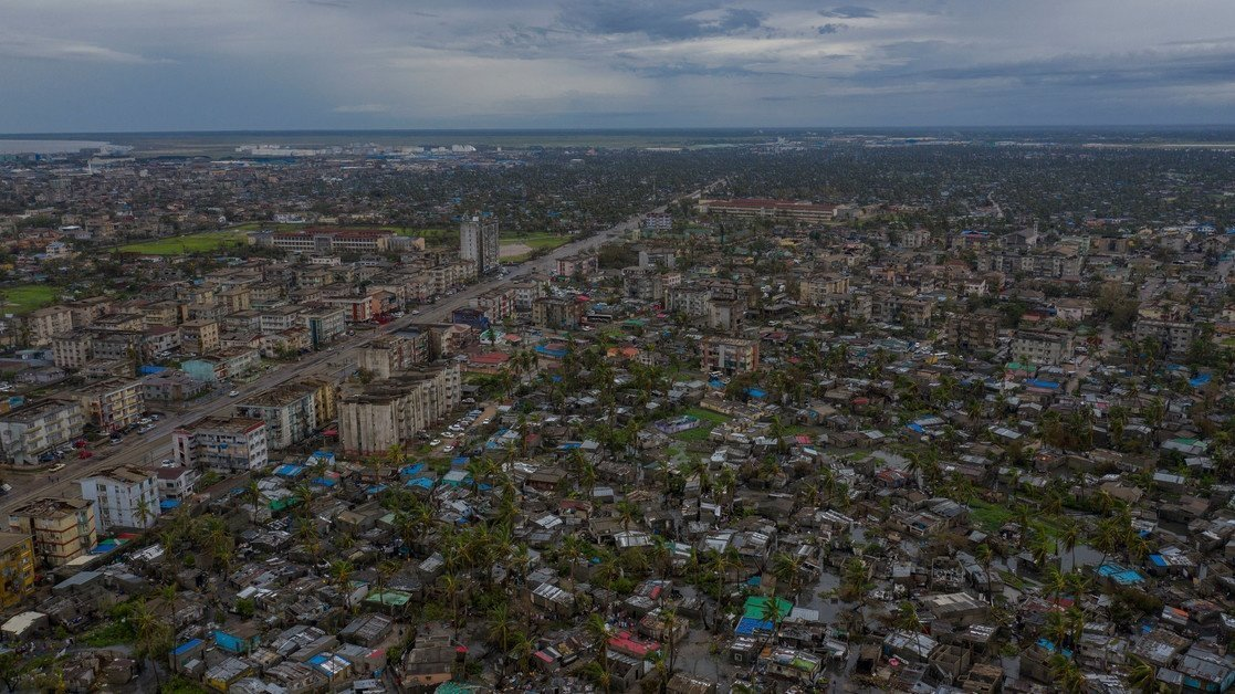 17 March 2019. The neighborhood of Nhamudima is a slum that was heavily affected by the cyclone in the city of Beira (drone footage only). Being located near the coast, this shanty town of loosely built homes were extremely vulnerable to the high winds and rain. Following the cyclone families are returning trying to pick up the pieces of their lives.  Photo by  Josh Estey/CARE
