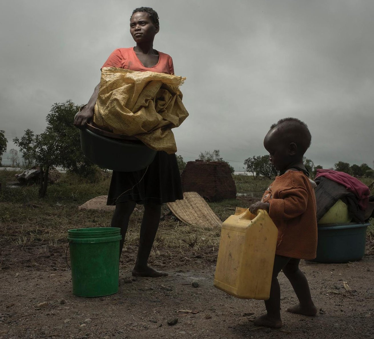 Mozambique was hit by a Category 4 Hurricane on March 16, 2019. After the devastating 200 km/h winds days of rain followed. Swollen rivers burst banks and damns hit over capacity. With over 400,000 people displaced in the center of the country, thousands of lives hang in the balance. The government, the UN and NGO's are working to save lives and help the recovery effort. CARE is on the ground in these operations. Photo by Josh Estey/CARE