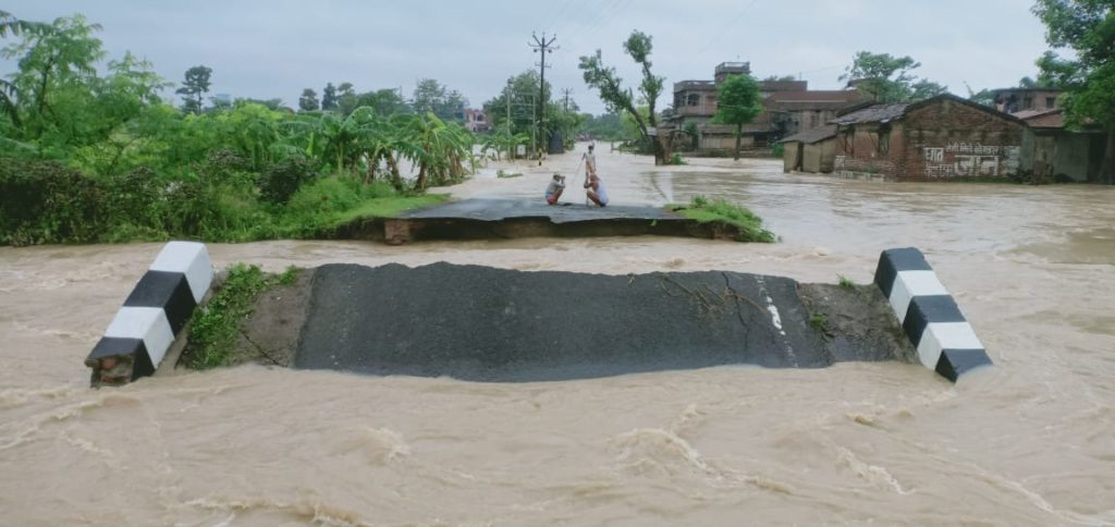 Flooding wipes out roads in in Assam and Bihar, India