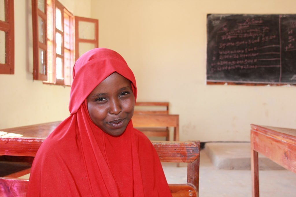 A girl in her classroom in Somalia