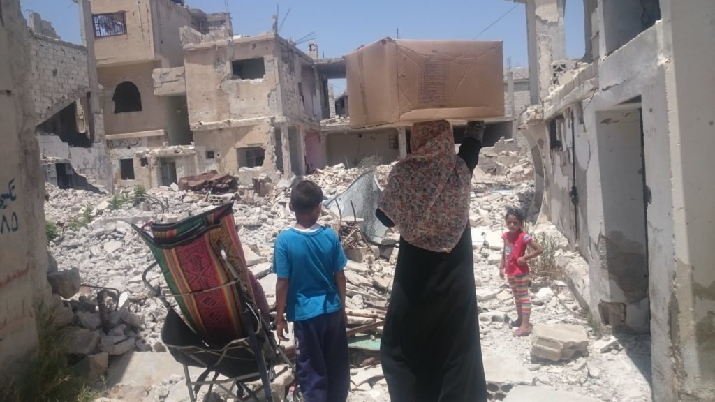 CARE partners are distributing emergency shelter kits to 25,000 affected people in southern Syria, many who suffered from heavy bombardment