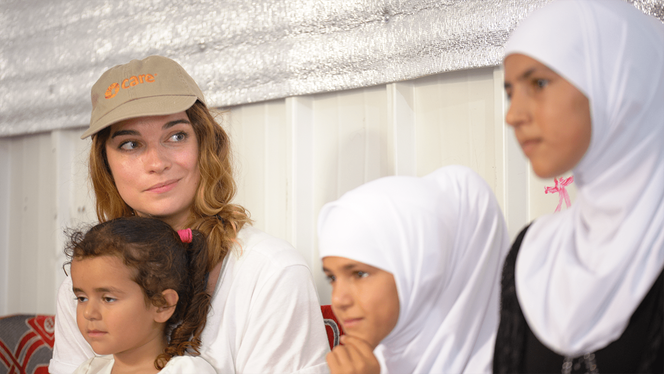CARE Canada ambassador Annie Murphy visiting Azraq refugee camp in Jordan