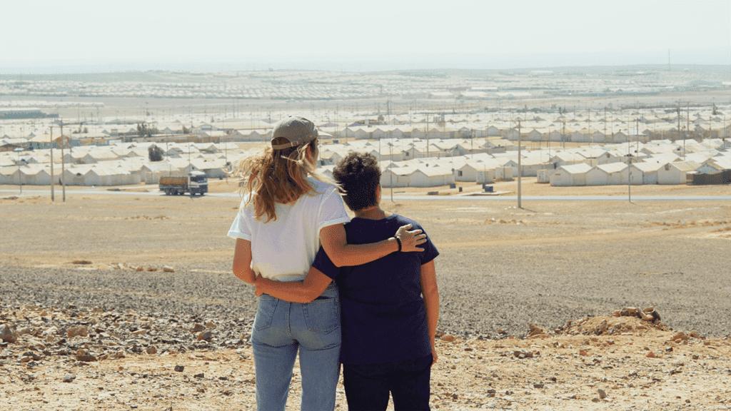 CARE Canada ambassador Annie Murphy and her Mom Deborah at Azraq refugee camp in Jordan