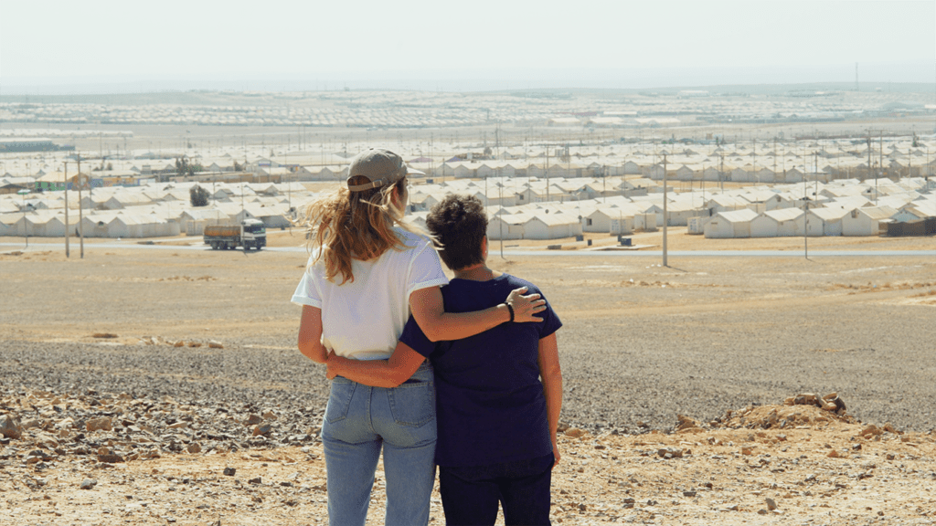 CARE Canada ambassador Annie Murphy and her Mom Deborah at Azraq refugee camp in Jordan