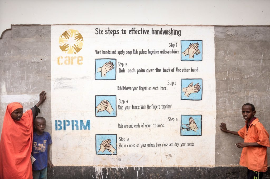 CARE works in Dadaab refugee camp in Kenya supporting hygiene workshops on hand washing, cleaning latrines as well as keeping water clean and safe.