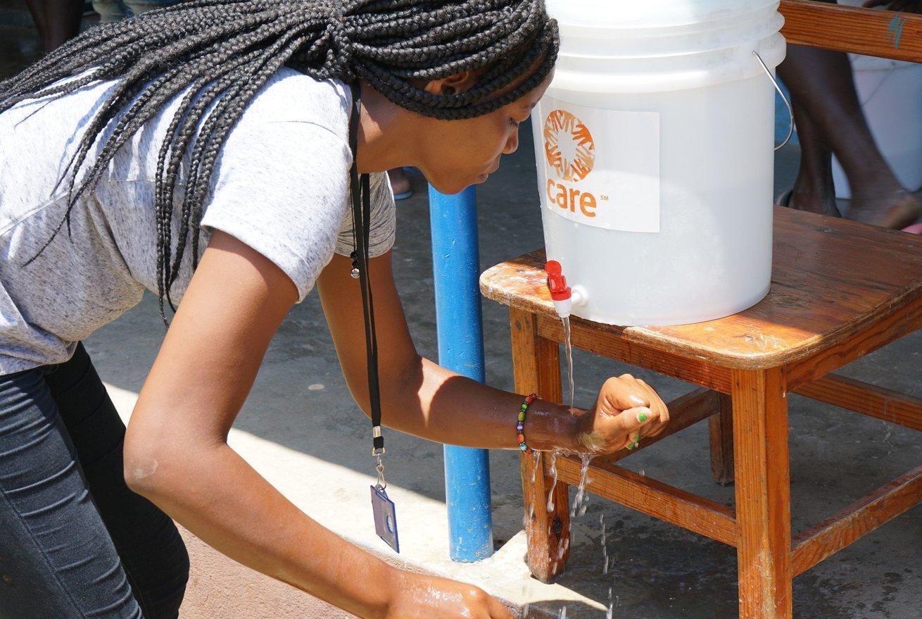 A CARE hand washing station in Haiti