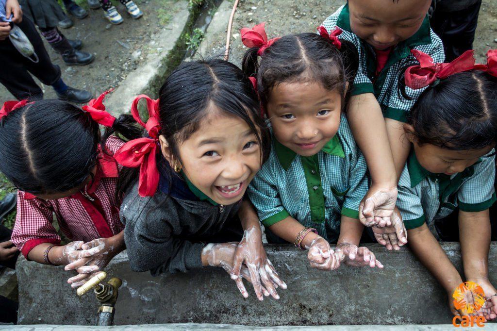 Children in Nepal washing their hands
