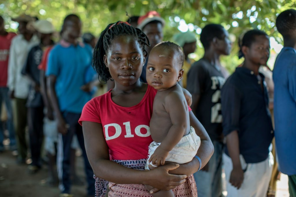 Marta Titoss with her 9-month-old daughter Joaquim Augusto in Mozambique