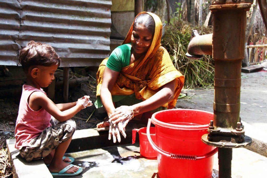 Hand washing demonstration in Bangladesh