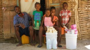 CARE distribution of hygiene kits to families in Haiti in response to COVID-19