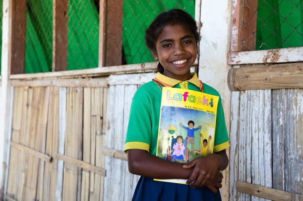CARE has been producing and distributing Lafaek educational magazines to students since 1999, and they now go to every school in Timor-Leste. With schools now closed, children have taken the magazines home to use them as teaching and learning tools with their parents.