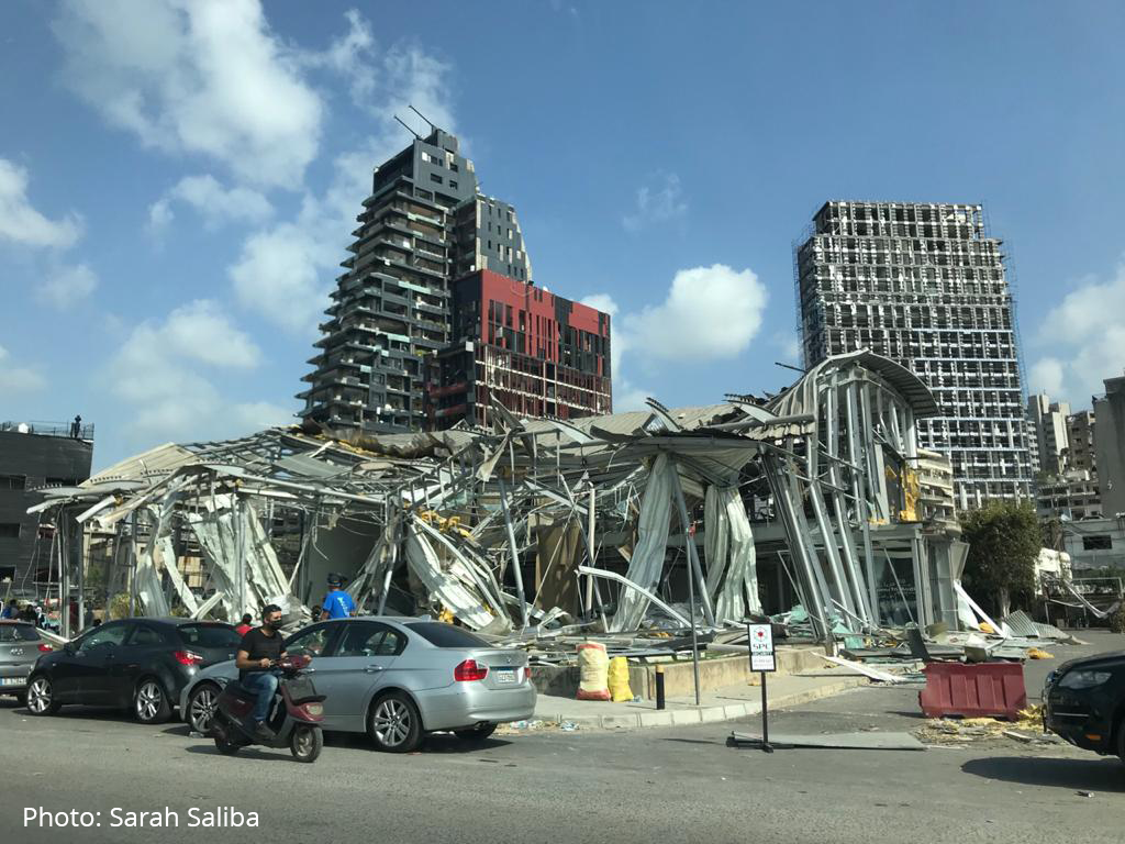 Damage in Beirut, Lebanon following explosions on August 4, 2020