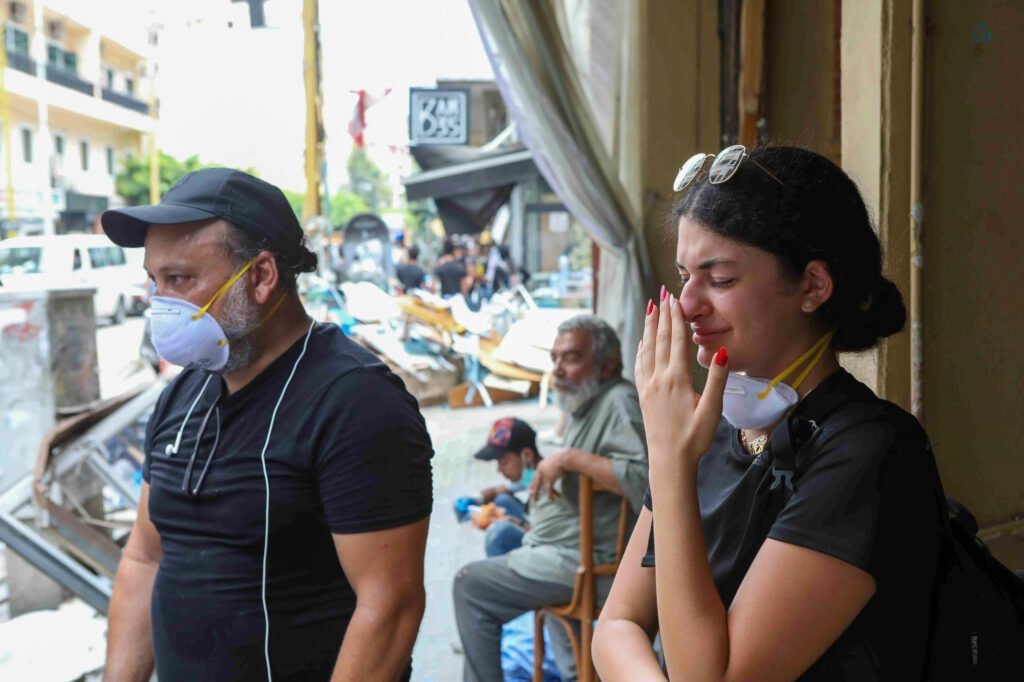Tala and her father Farouk after the Beirut explosions of August 4, 2020