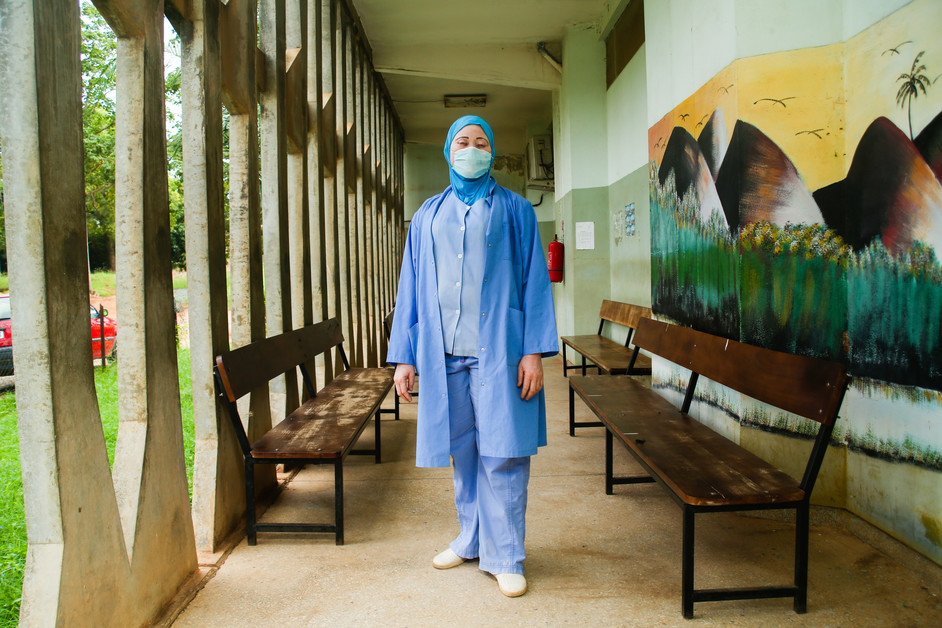 Mrs. Boukari is a nurse. She works at a community health unit that supports those effected by COVID-19 in Togo. Lina Mensah/CARE