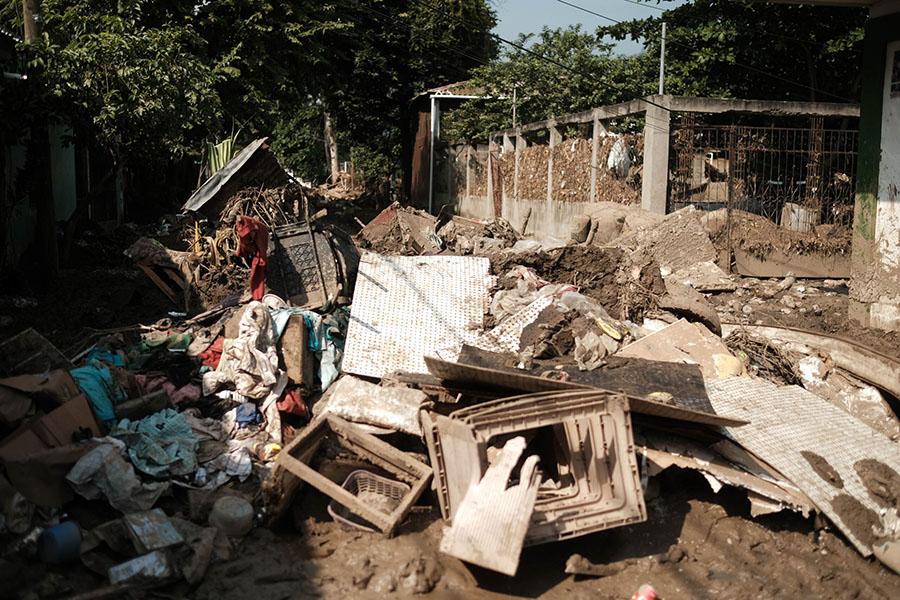 Hurricane Eta's damage in El Calan, Villanueva, Cortes, in the country's northern region.