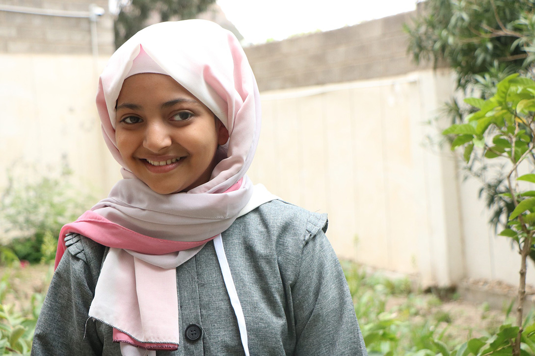 12-year-old Malak from Yemen is sharing COVID-19 prevention with her friends to keep them safe. She wants to re a doctor to help people and make their lives better.