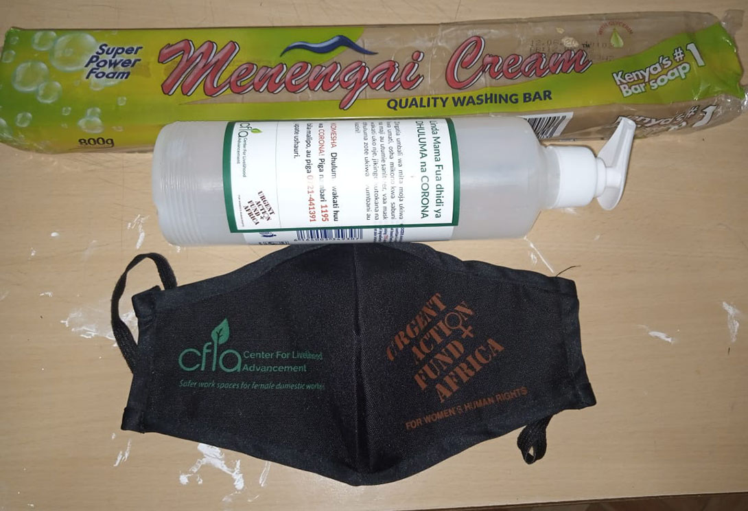 CFLA protective kit items: hand santizer with help line phone number on the label, face mask and soap. Photo: Center For Livelihood Advancement (CFLA)