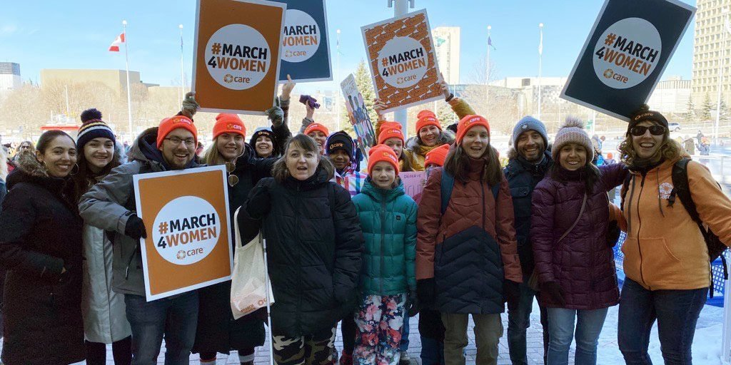 CARE supporters at the Ottawa Women's March, March 7, 2020