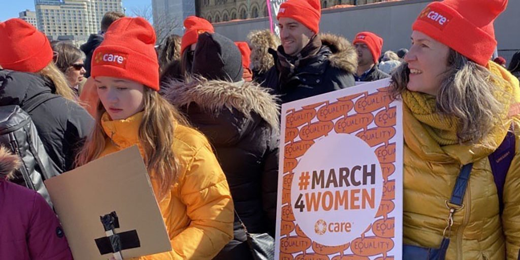 CARE staff and supporters at the Ottawa Women's March 2020