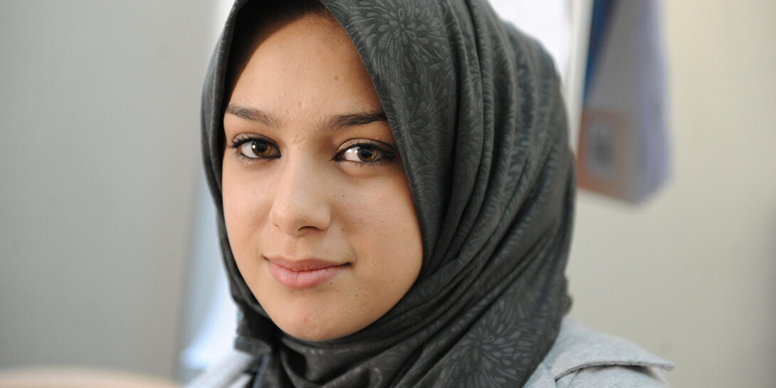 Shahed, whose family fled from their home in Dara'a, Syria, is a participant in a Syrian and Jordanian teen peer-to-peer support group at CARE's community centre in Irbid, Jordan.
