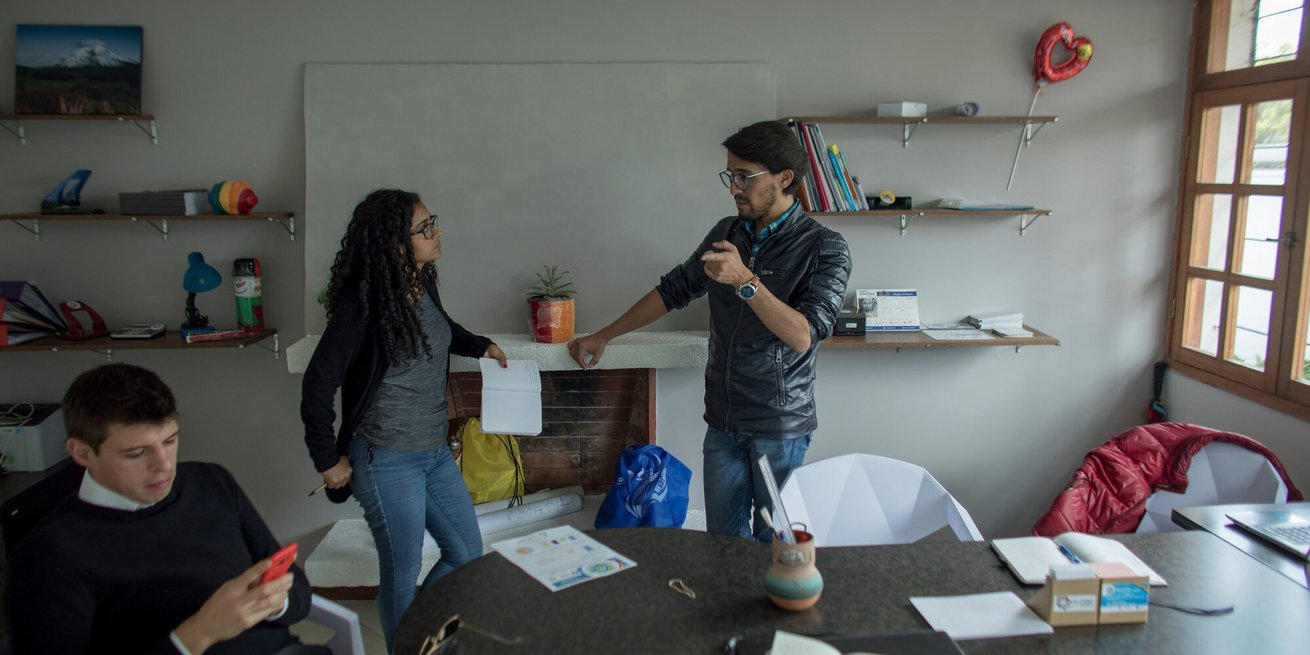 Staff and others at Dialogo Diverso in Quito, Ecuador, are working to help LGBT migrants find safety. Photographed in April, 2019.