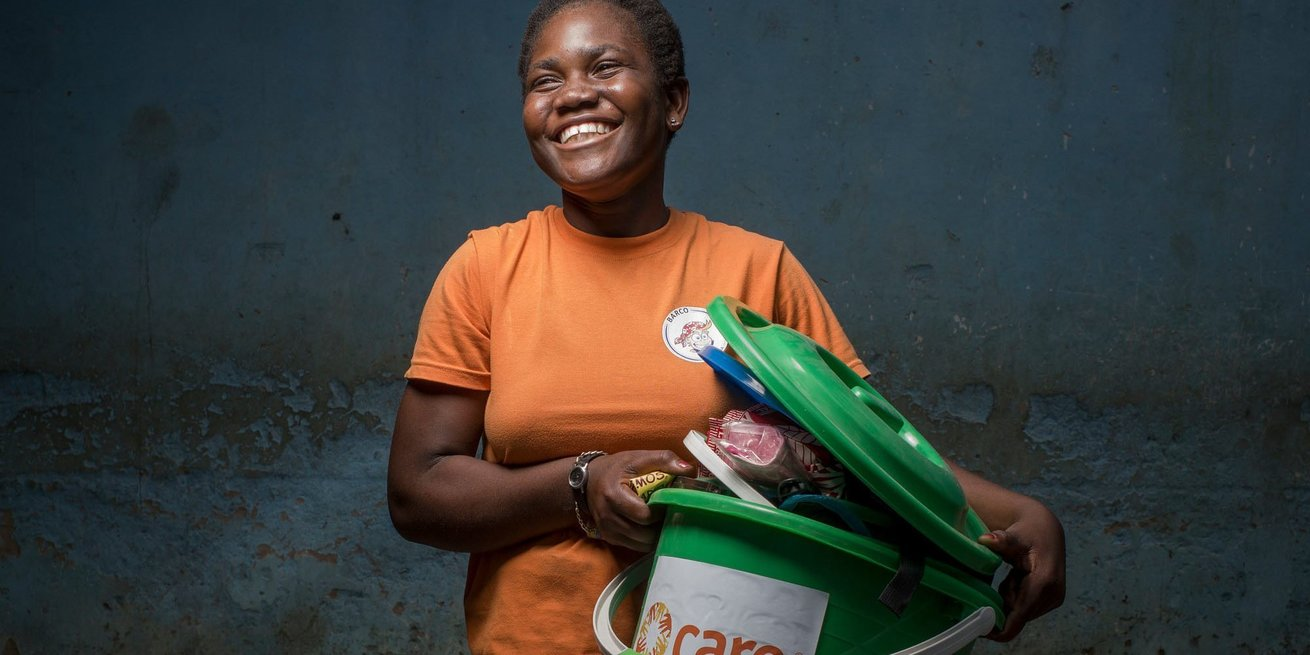 Luisa Marcos Joan (16) receives a hygiene kit in Mozambique