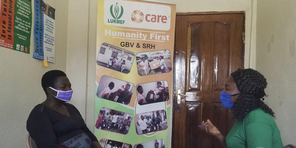 Gender-based violence survivor meets with case worker, Cameroon