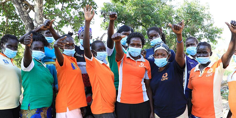 Halatu Benjamin and her women's group. All photos by CARE Uganda.