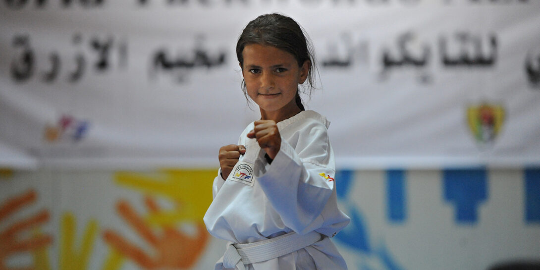 Rayan lives in in Azraq refugee camp in Jordan where CARE supports Taekwondo classes for Syrian girls in its community centre. Her coach Asef el Sabah says he sees the heart of a champion in Rayan.